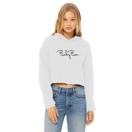 Baby Boo Black Graphic Style Cropped Raw Edge Hoodie