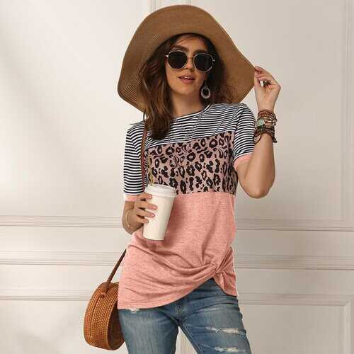 Womens Shrits, Leopard Print & Pin Stripe Style Short Sleeve Shirt