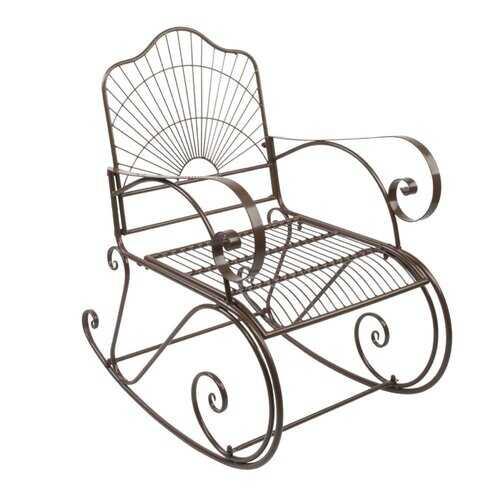 Patio Decor, Brown Rod Iron Scroll Porch Rocker Rocking Chair