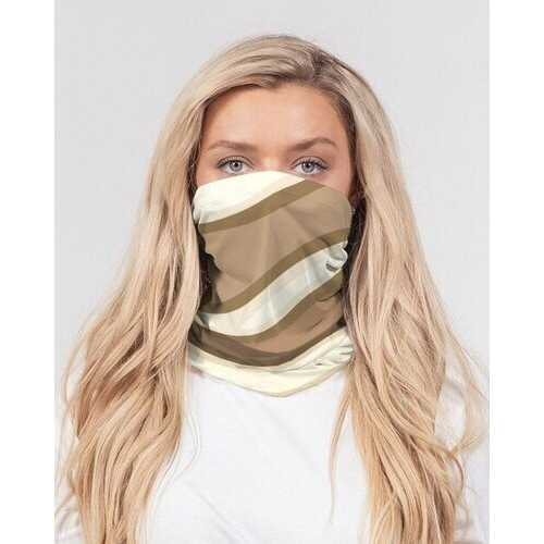 Face Coverings, Brown And Beige Swirling Wave 3 Piece Neck Gaiter Set