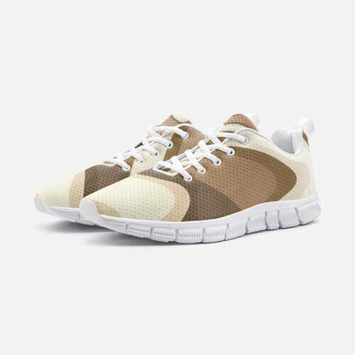 Athletic Shoes, Brown and Beige Swirling Wave Lightweight Athletic Sneakers