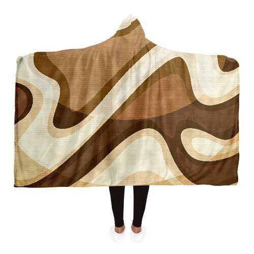 Brown And Beige Swirling Waves Hooded Blanket