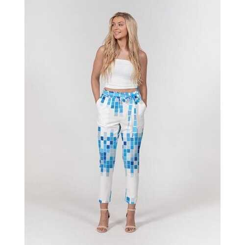 Womes Pants, Blue And White Mosaic Square Style Belted Tapered Pants
