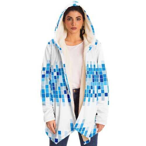 Unisex Jackets, Blue And White Mosaic Square Style Fleece Jacket