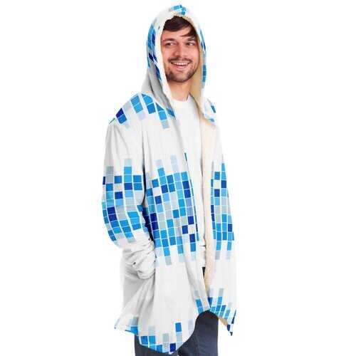 Mens Jackets, Blue And White Mosaic Square Style Fleece Jacket