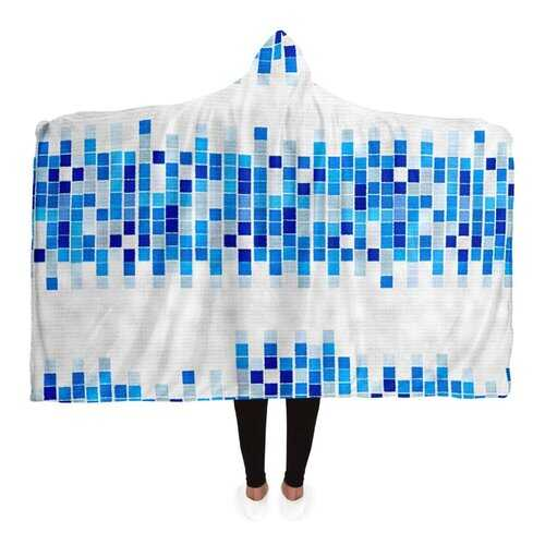 Hooded Blankets, Blue And White Mosaic Square Style Fleece Blanket