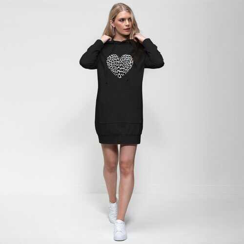 Hoodie Dresses, Heart Shaped Leopard Print Dress