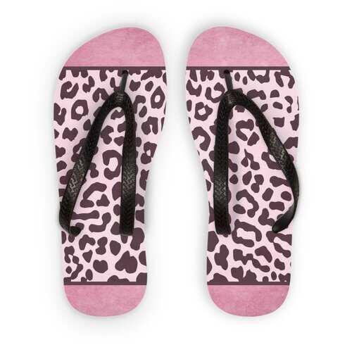 Two Tone Purple Leopard Style Adult Flip Flops