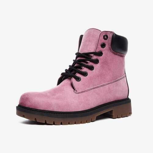 Heather Pink Casual Leather Lightweight Boots