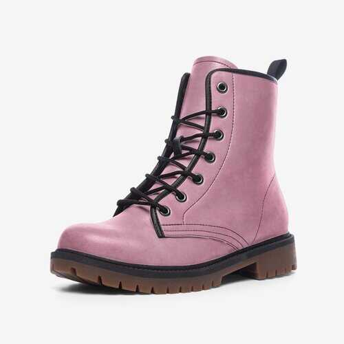 Heather Pink Casual Mid-Calf Leather Lightweight Boots