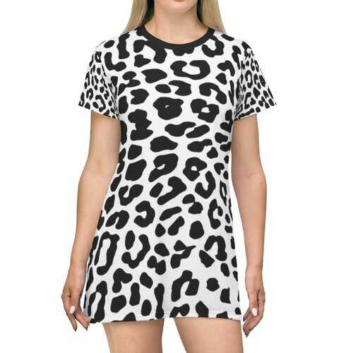 Black And White Leopard Style T-Shirt Dress