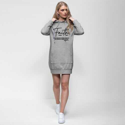 Faith The Substance Of Things Hoped For, Black Graphic Text Premium Adult Hoodie Dress