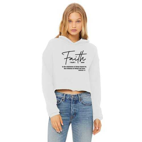 Faith The Substance Of Things Hoped For, Black Graphic Text Cropped Raw Edge Hoodie