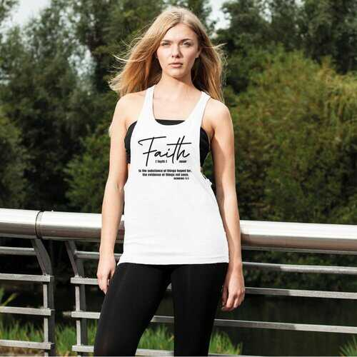 Faith The Substance Of Things Hoped For, Black Graphic Text Women'S Loose Racerback Tank Top