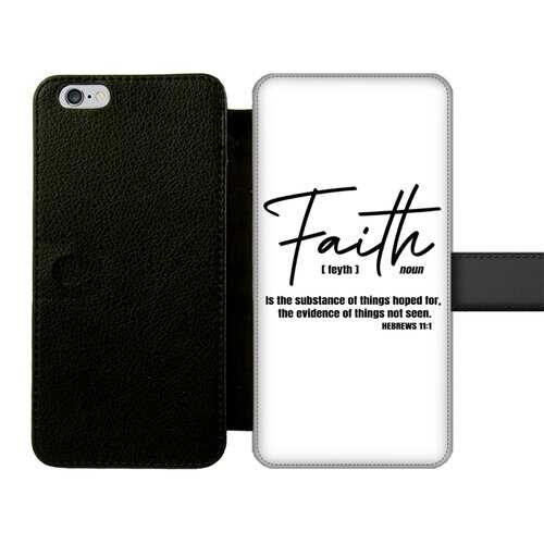 Faith The Substance of Things Hoped For, Black Graphic Text Front Printed Wallet Cases