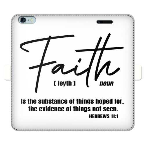 Faith The Substance of Things Hoped For, Black Graphic Text Full Cover Print Wallet Cases