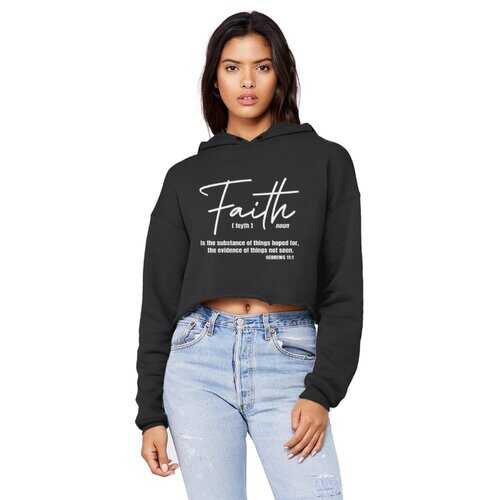 Faith Is The Substance Of Things Hoped For, White Graphic Text Raw Edge Cropped Hooded Shirt