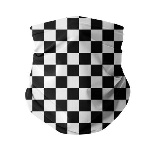 Black And White Checker Style Neck Gaiter