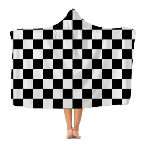 Black And White Checker Style Premium Adult Hooded Blanket