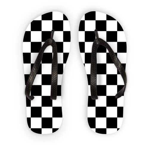 Black And White Checker Style Adult Flip Flops