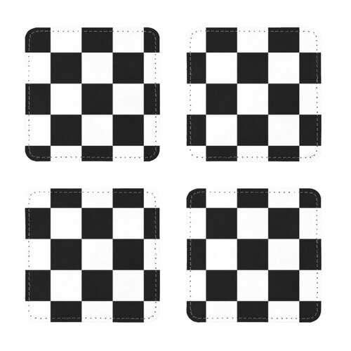 Black and White Checker Style Sublimation Coasters Pack of Four