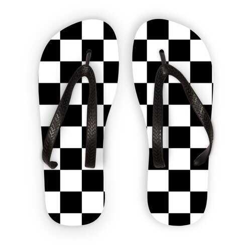 Black and White Checker Style Kids Flip Flops