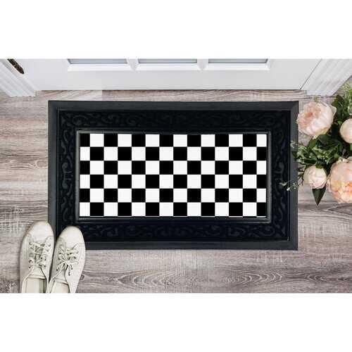 Black and White Checker Style Heavy Duty Door Mat