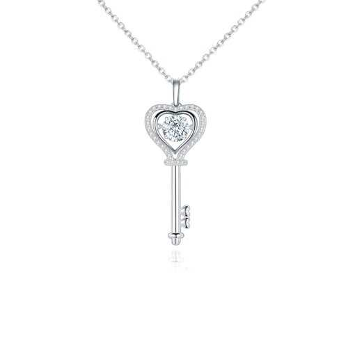 925 Sterling Silver, Moissanite Stone Heart Shaped Key Pendant Necklace