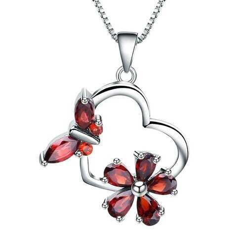 925 Sterling Silver, Natural Garnet Stone Floral Butterfly Pendant Necklace