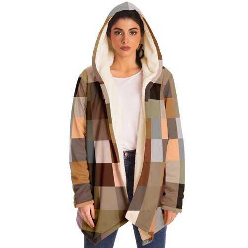 Womens Jackets, Brown Tone Swatch Style Fleece Jacket