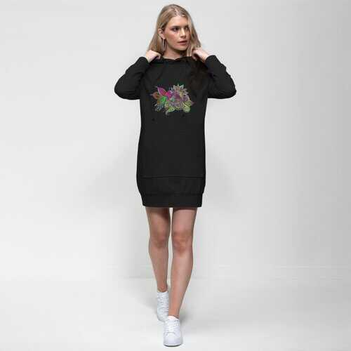 Floral Odyssey Graphic Style Premium Adult Hoodie Dress