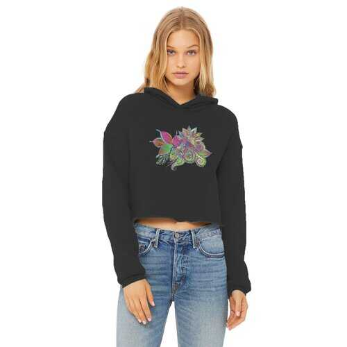 Floral Odyssey Graphic Style Cropped Raw Edge Hoodie