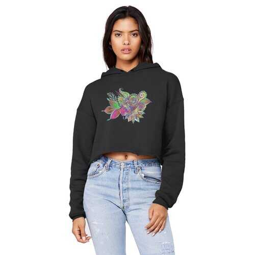 Floral Odyssey Graphic Style Raw Edge Cropped Hooded Shirt