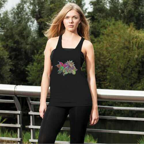 Floral Odyssey Graphic Style Women'S Loose Racerback Tank Top