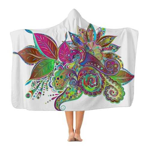 Floral Odyssey Graphic Style Premium Adult Hooded Blanket