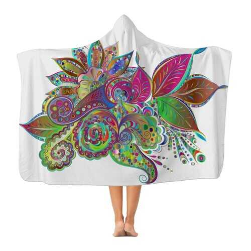 Floral Odyssey Graphic Style Classic Adult Hooded Blanket