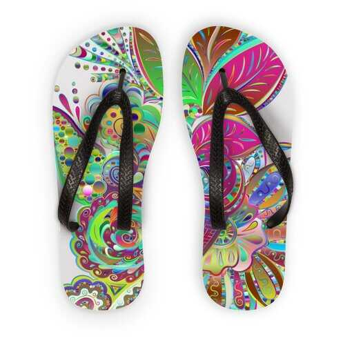 Floral Odyssey Graphic Style Kids Flip Flops