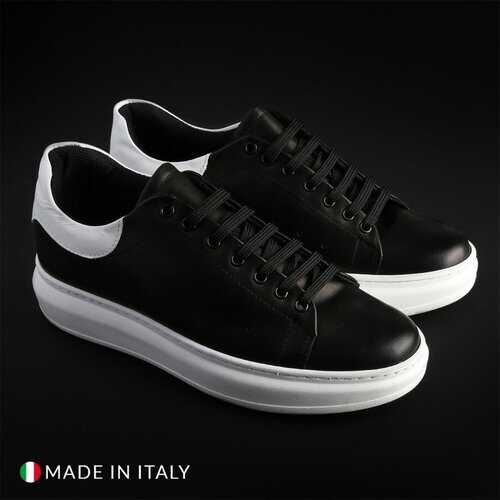 Guido Bassi Men's Sneakers, Low Top Athletic Shoes - Black / White