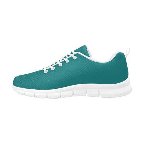 Dark Teal Green, White Bottom Women's Canvas Running Shoes