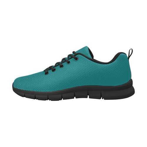 Dark Teal Green, Black Bottom Women's Canvas Running Shoes
