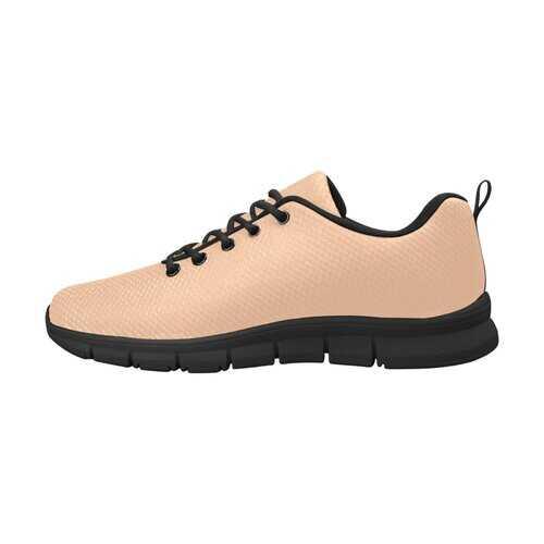 Deep Peach, Black Bottom Women's Canvas Running Shoes