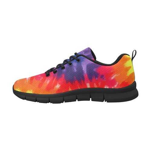 Orange and Purple Tie-Dye, Black Bottom Women's Canvas Running Shoes