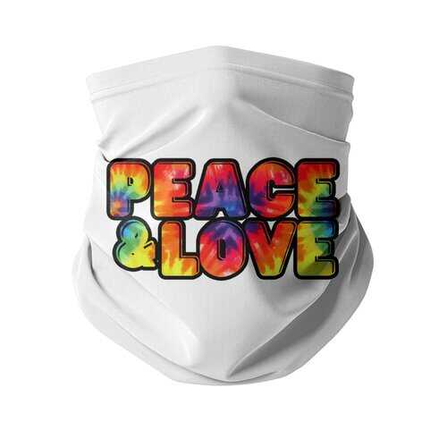 Peace & Love Graphic Style Neck Gaiter