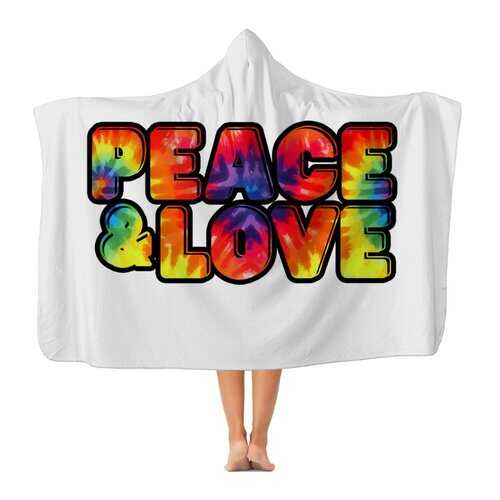 Peace & Love Graphic Style Premium Adult Hooded Blanket