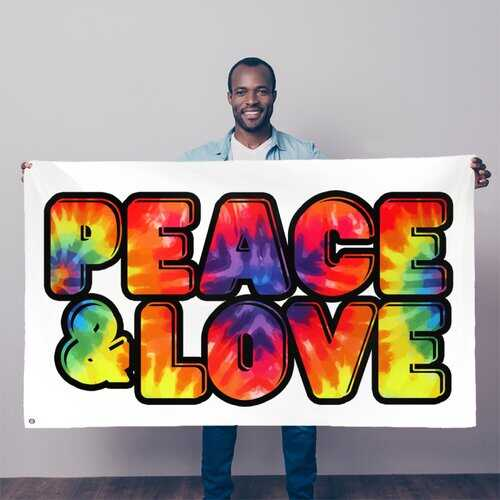Peace & Love Graphic Style Decorative Tapestry