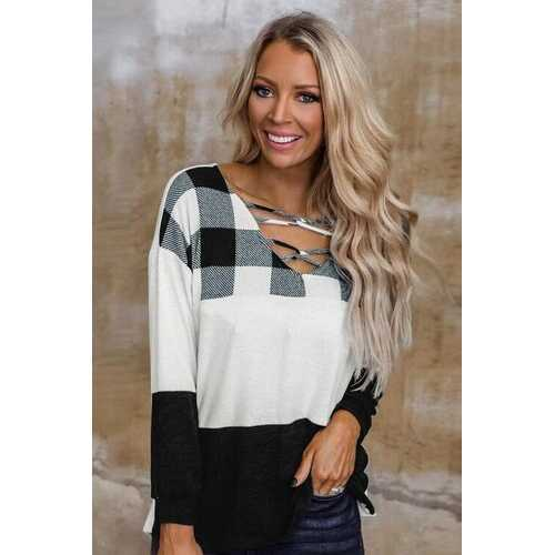 Womens Shirts, Black and White Plaid Style Cross-Loop V Neck Long Sleeve Top