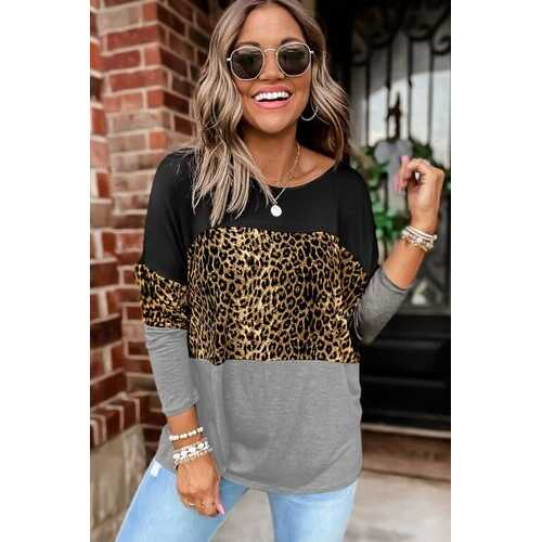 Womens Shirts, Leopard Print Style Gray Colorblock Long Sleeve Top