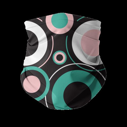 Black Green Pink Whimsical Circular Style Neck Gaiter