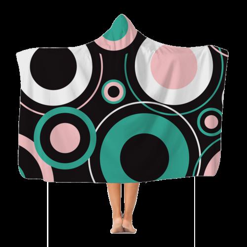 Black Green Pink Whimsical Circular Style Premium Adult Hooded Blanket