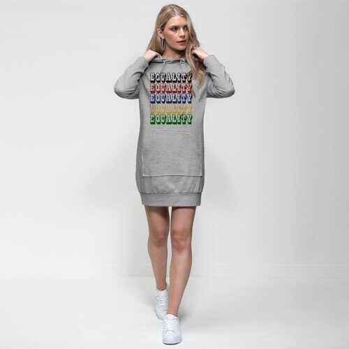 Equality Graphic Text Word Art (Rainbow) Premium Adult Hoodie Dress